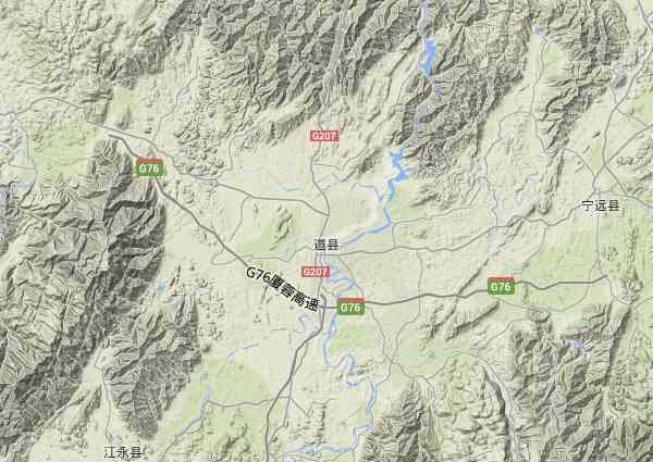 道县地形图 - 道县地形图高清版 - 2019年道县地形图